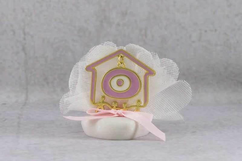 c7fe6cab8d14 Μπομπονιέρα Βάπτισης Σπιτάκι με Ματάκι Ροζ σε Βότσαλο.